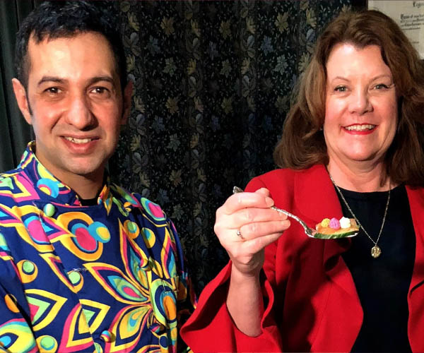 Salar Melli for Ward Metis councillor and Lori Sigurdson pose for newspaper article about the grand opening of Vintage Fork at Rutherford House