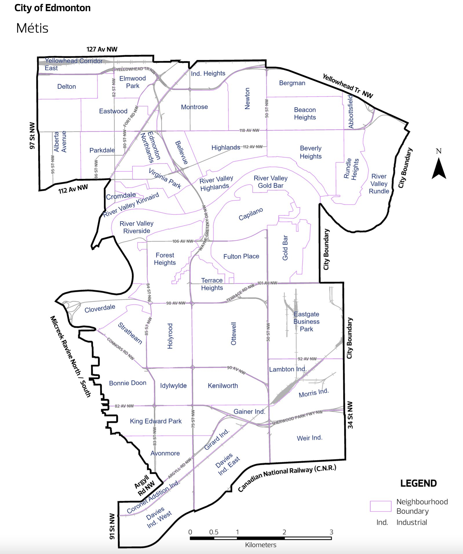 Image of Ward Metis Edmonton map with all neighbourhoods available to click on