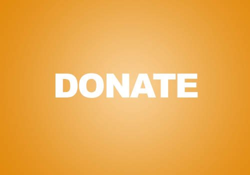 Image with an orange background and white text of the word donate. Used a button to click on to donate to Ward Metis councillor Salar Melli