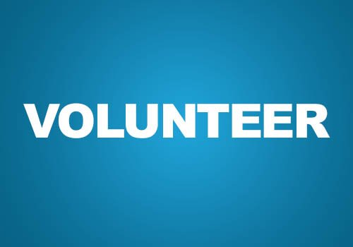 Image with blue background and white text of the word volunteer. Used a button to click on to volunteer with Ward Metis councillor Salar Melli